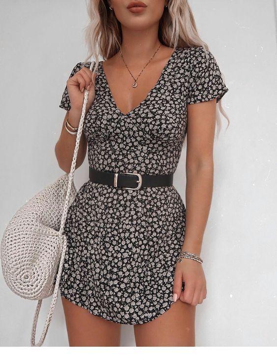 Cool boho printed dress with a belt