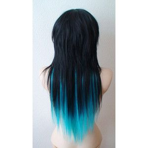 Black Hair With Aqua Highlights Turquoise Hair Long Hair Styles Side Bangs Hairstyles