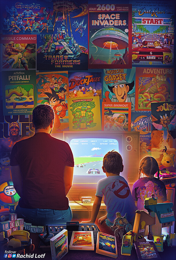 Artstation Atari 2600 7800 Rachid Lotf Retro Gaming Art Retro Art Classic Video Games