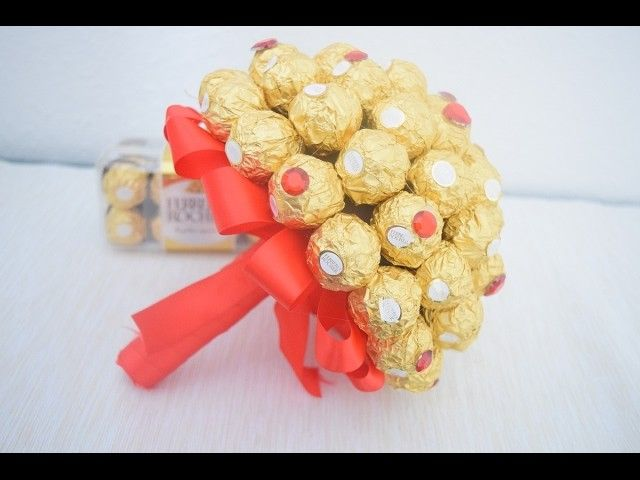 diy ferrero rocher blumenstrau valentinstag geschenk chocolate flowers. Black Bedroom Furniture Sets. Home Design Ideas