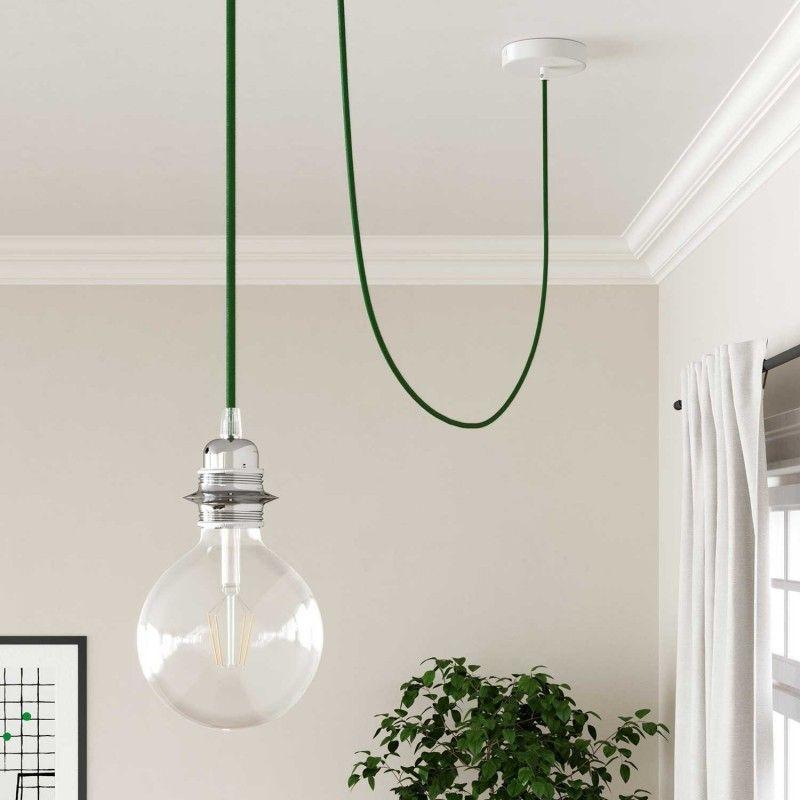 Elektrisches Kabel Rund Uberzogen Mit Textil Seideneffekt Einfarbig Grun Rm06 Textilkabel Lampe Textilkabel Kabel