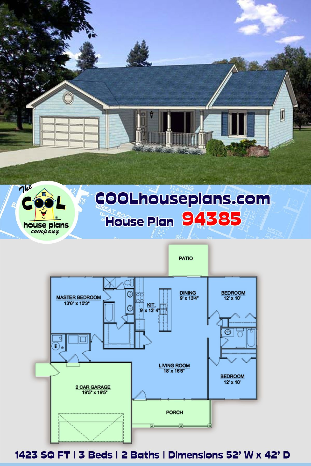 Traditional Style House Plan 94385 With 3 Bed 2 Bath 2 Car Garage In 2020 House Plans Ranch House Plans Garage House Plans