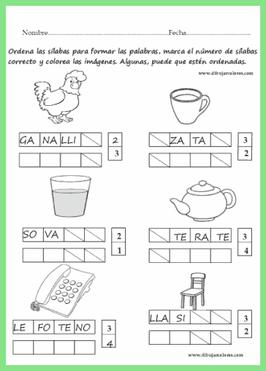 Ejercicios De Dos Tres O Más Sílabas Para Ordenar Palabras Palabras De Tres Silabas Juegos De Lectoescritura