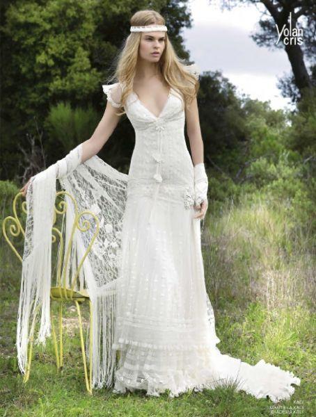 traje de novia de estilo hippie modelo kali. | bodas | vestidos de