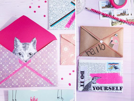colorful DIY envelopes w/papers on hand (gift wrap, washi tapes, bags, etc.)