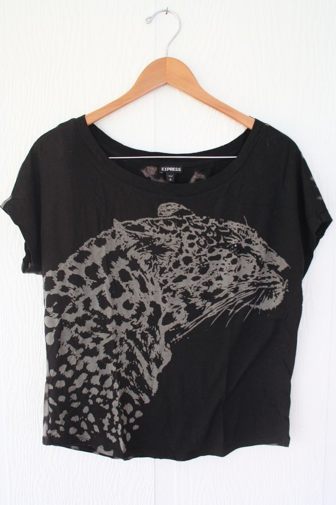 Express Leopard Print Jaguar Top Black Tshirt Beaded Size Small #Express #KnitTop