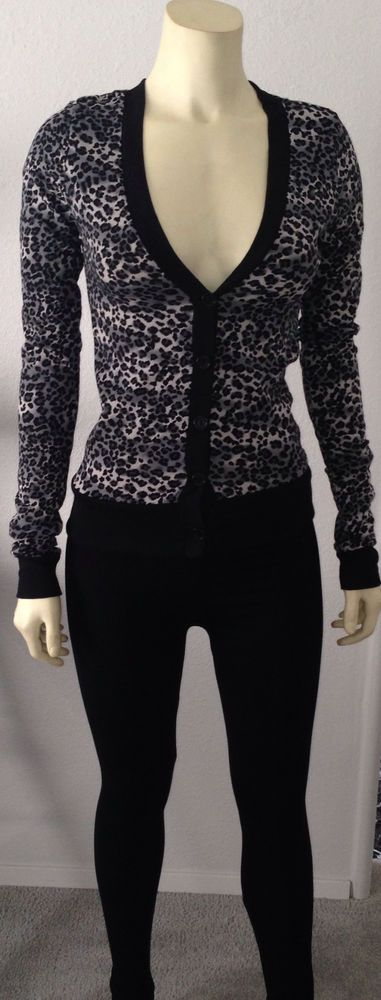 Animal Leopard Print V Neck Button Down Low Cut Top Open Cardigan ...