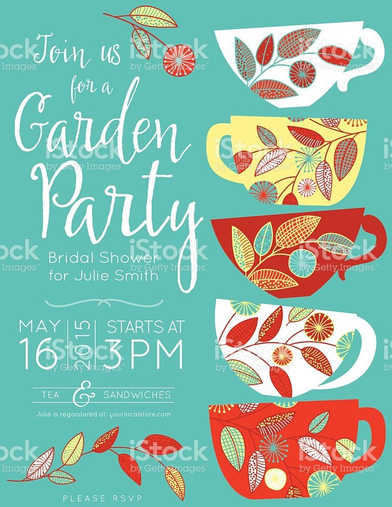 garden party tea bridal shower invitation template vector