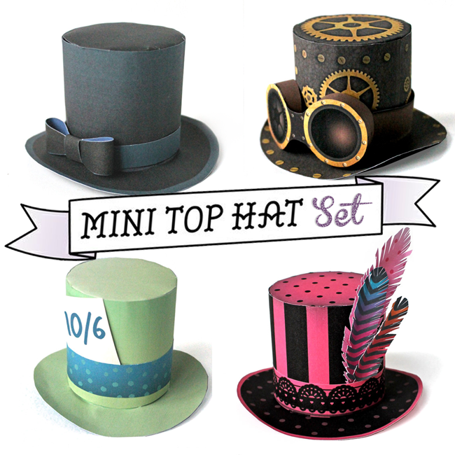 b25a5c2302f Print   make as many mini top hats as you like. Paper no-sew mini top hats  for parties fiestas. Simple instructions   easy to assemble PDF templates  for  2.