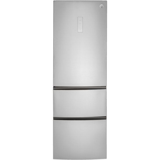 Ge 11 7 Cu Ft Bottom Freezer Counter Depth Refrigerator Stainless Steel Gle12hslss Best Buy Bottom Freezer Refrigerator Bottom Freezer Narrow Refrigerator