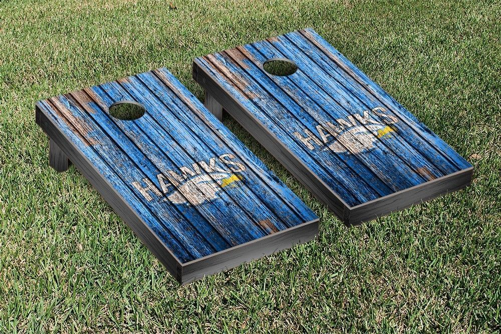 Hilbert College Hawks Weathered Wood w/ Logo Cornhole Board & Bag Set