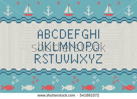 Sea knitted font. Knitted latin alphabet on sea theme patterns background. Woolen knitted texture. Nordic Fair Isle sweater design. Vector Illustration