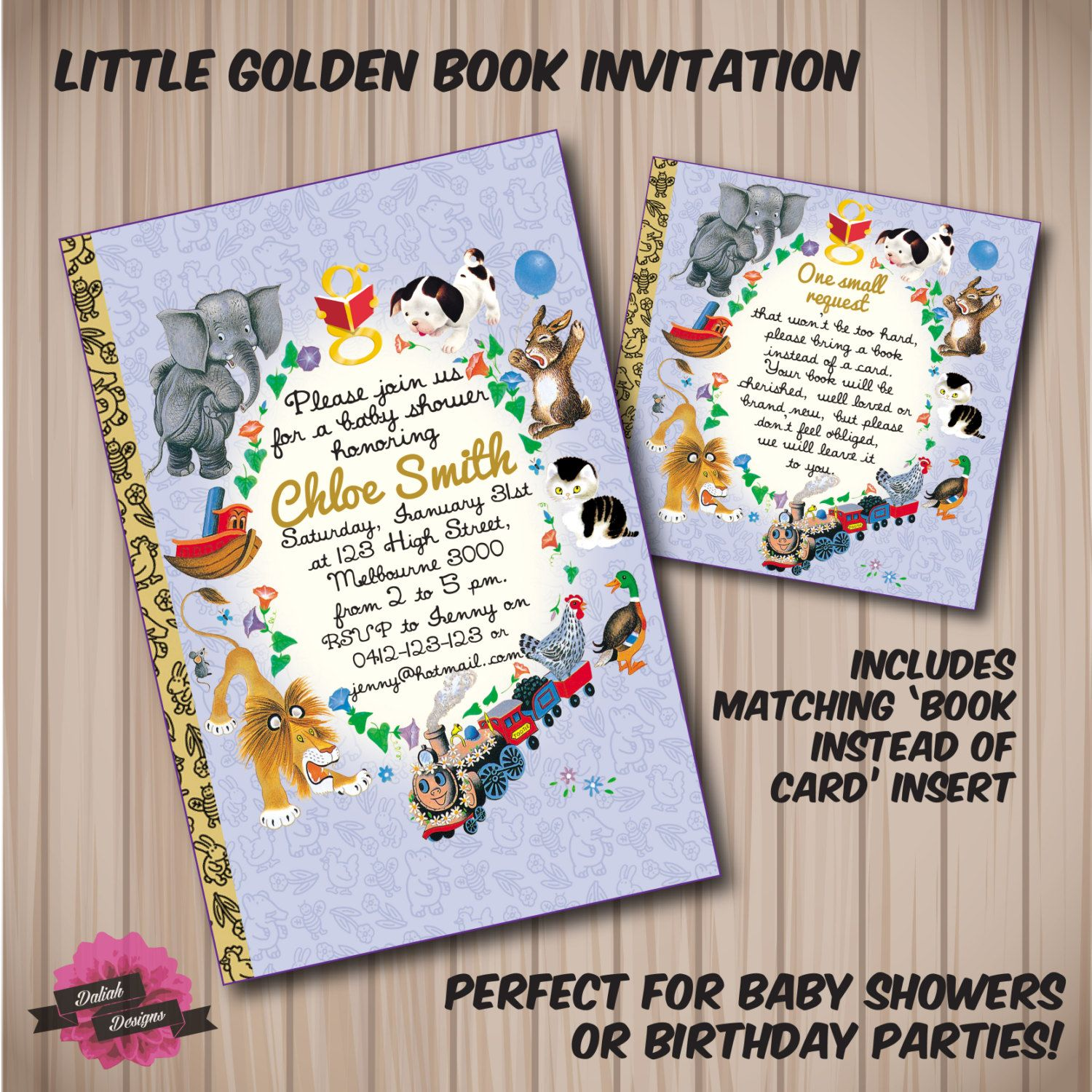 Little Golden Book Birthday or Baby Shower by DaliahDesigns