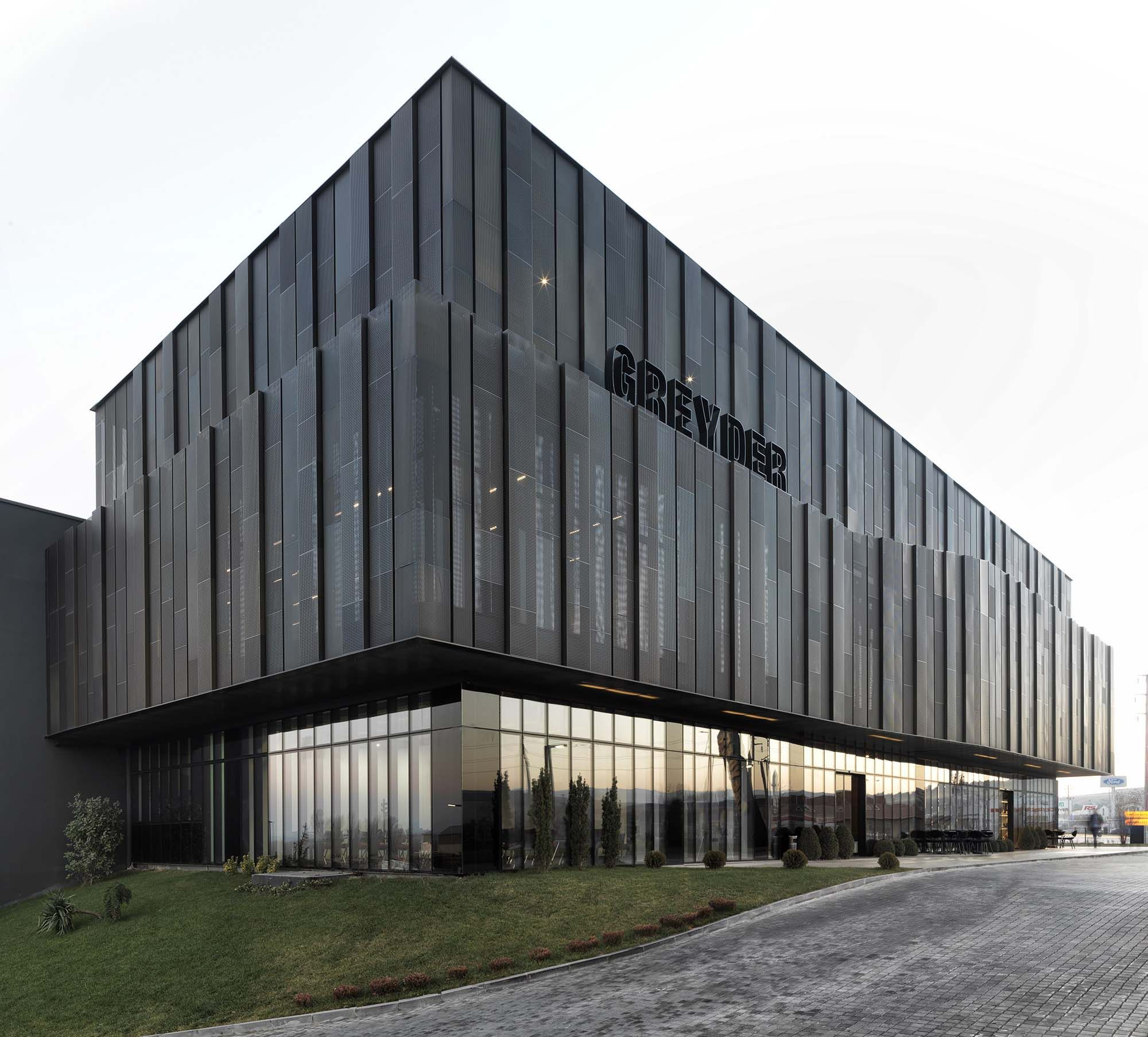 Architecture Facades: Perforated Anodised Metal Doubleskin Facade // Greyder