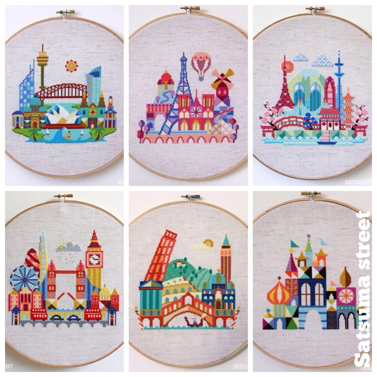Patterns Pretty Little Cities Giveaway Cross Stitch Art