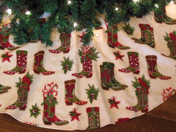 Cowboy Boots Christmas Tree Skirt, Western Christmas Decoration