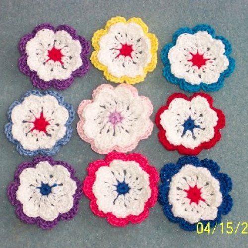 Handmade cotton thread crochet applique flowers.