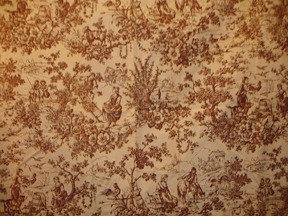 Antique French Toile Fabric  1890's  47 by 73  by WondersOfThePast, $275.00