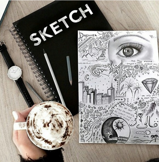Art Drawing Sketchbook Flatlay Style Photo For Instagram Or