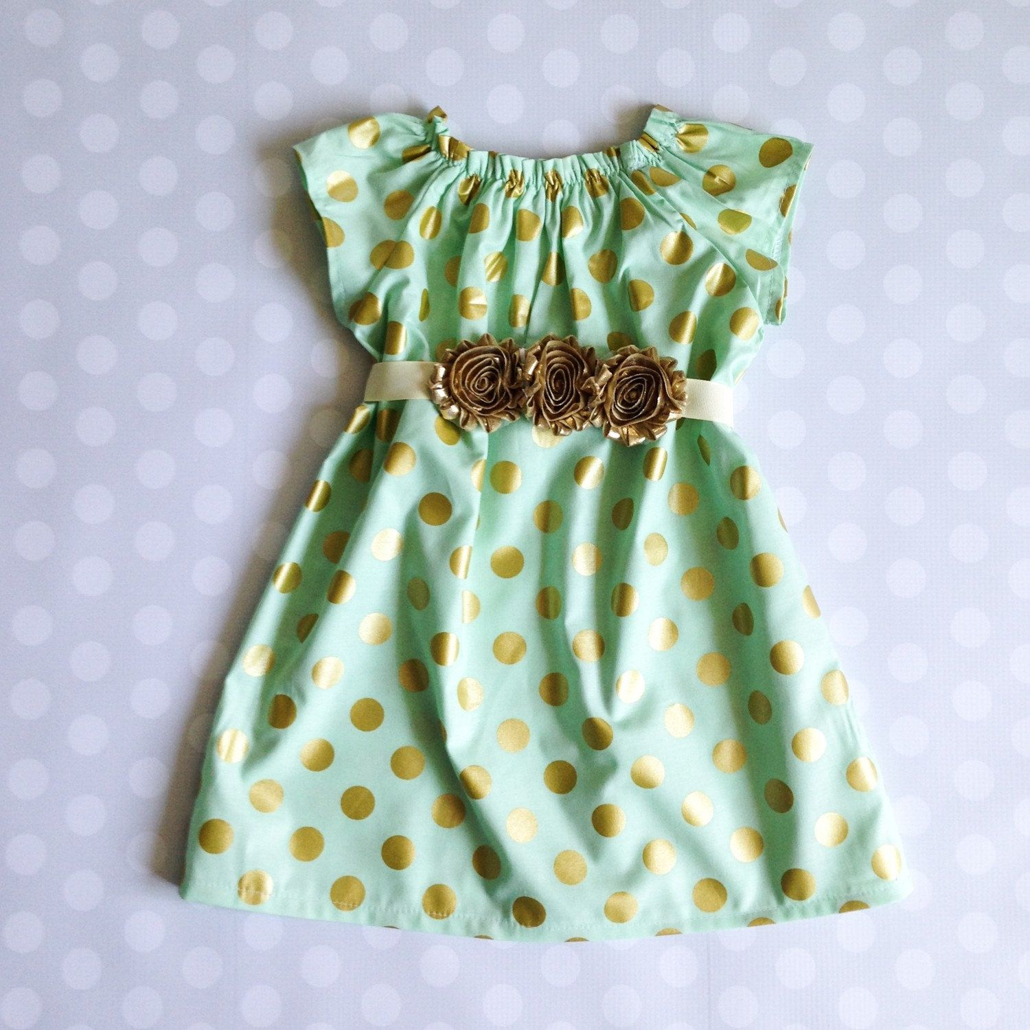 Mint and Gold Polka Dot Dress pinned by pin4etsy