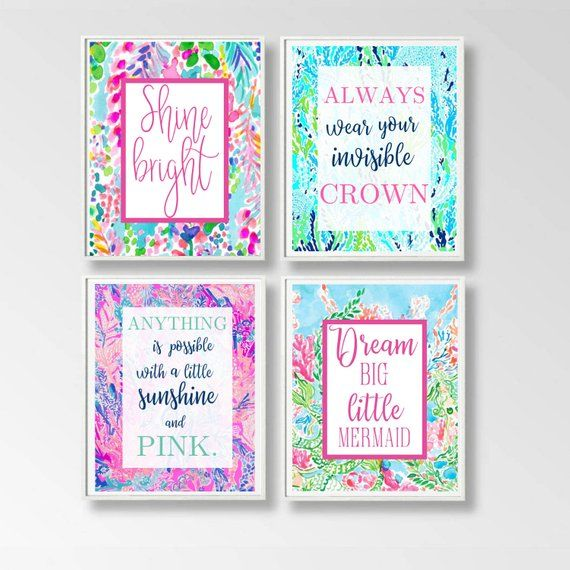 mermaid bathroom decor, Lilly pulitzer inspired bathroom art, set of 4 mermaid art, nursery wall decoration, mermaids for baby room, 5x7 #mermaidbathroomdecor