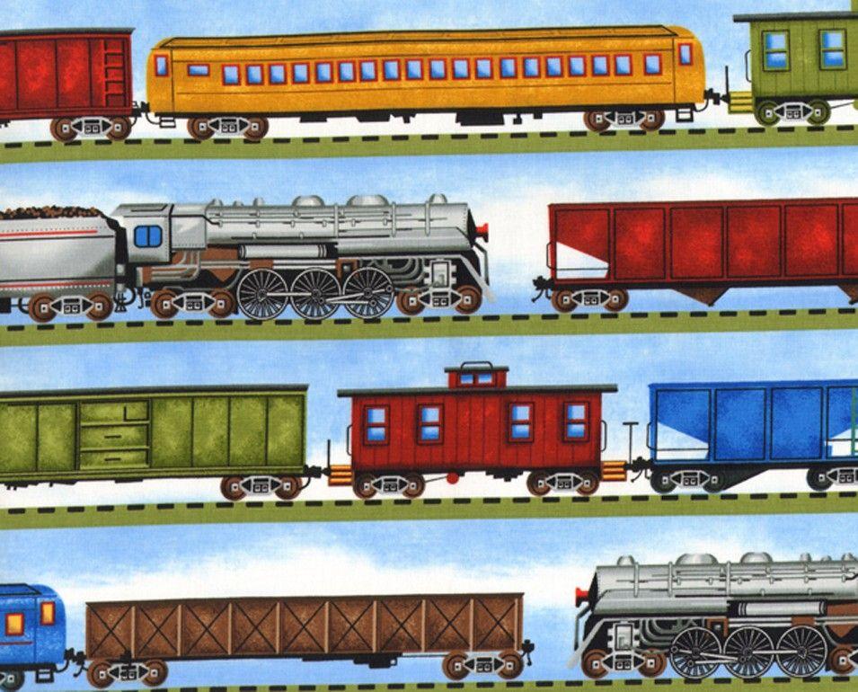 Train Fabric Timeless Treasures Fabric train in stripes 3651