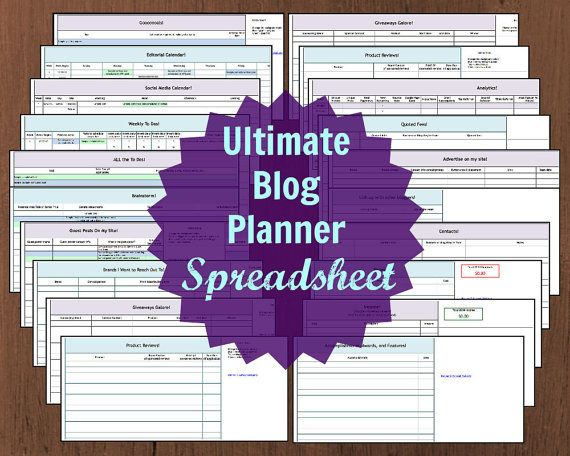 Ultimate Blog Planner Excel Spreadsheet \u2013 Instant Download ($15
