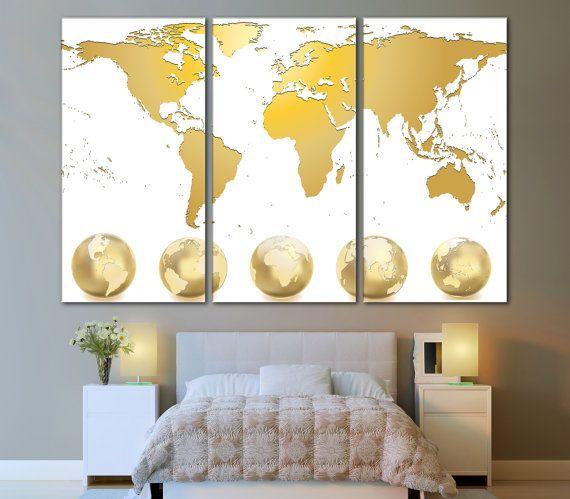 World map wall decor white and gold world map photo on canvas world map wall decor white and gold world map photo on canvas world map gumiabroncs Choice Image
