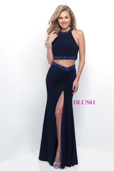 Blush Navy Two Piece Prom Set with Side Slit | Blush Special ...