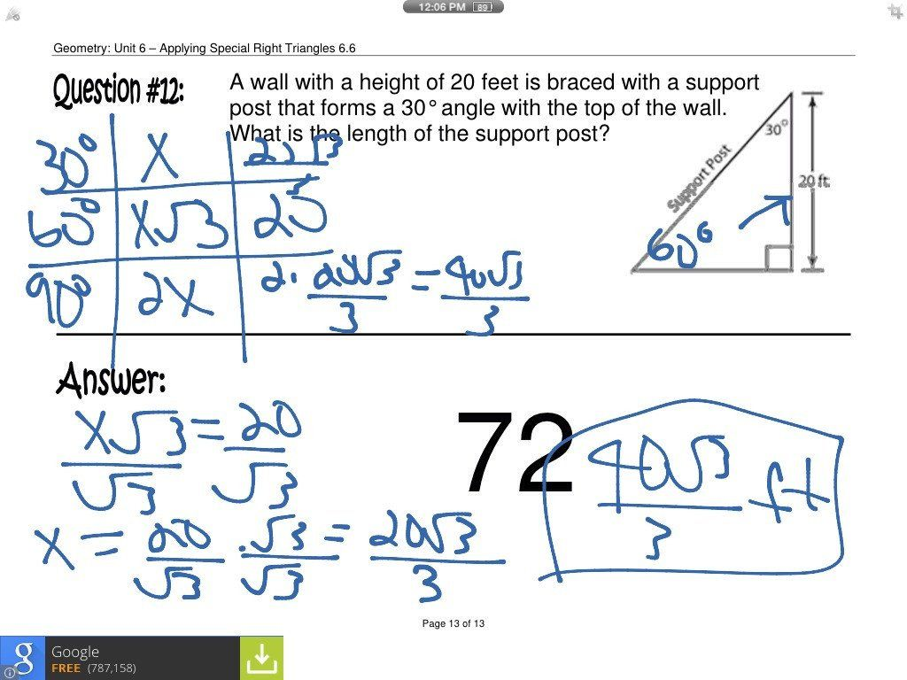 Special Right Triangle Worksheet Geometry Worksheet 82