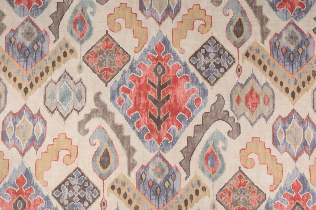 4 3 Yards Belle Maison Taos Printed Cotton Drapery Fabric In Spectrum This Printed Fabric Is Perf Outdoor Upholstery Fabric Ikat Pattern Fabric Drapery Fabric