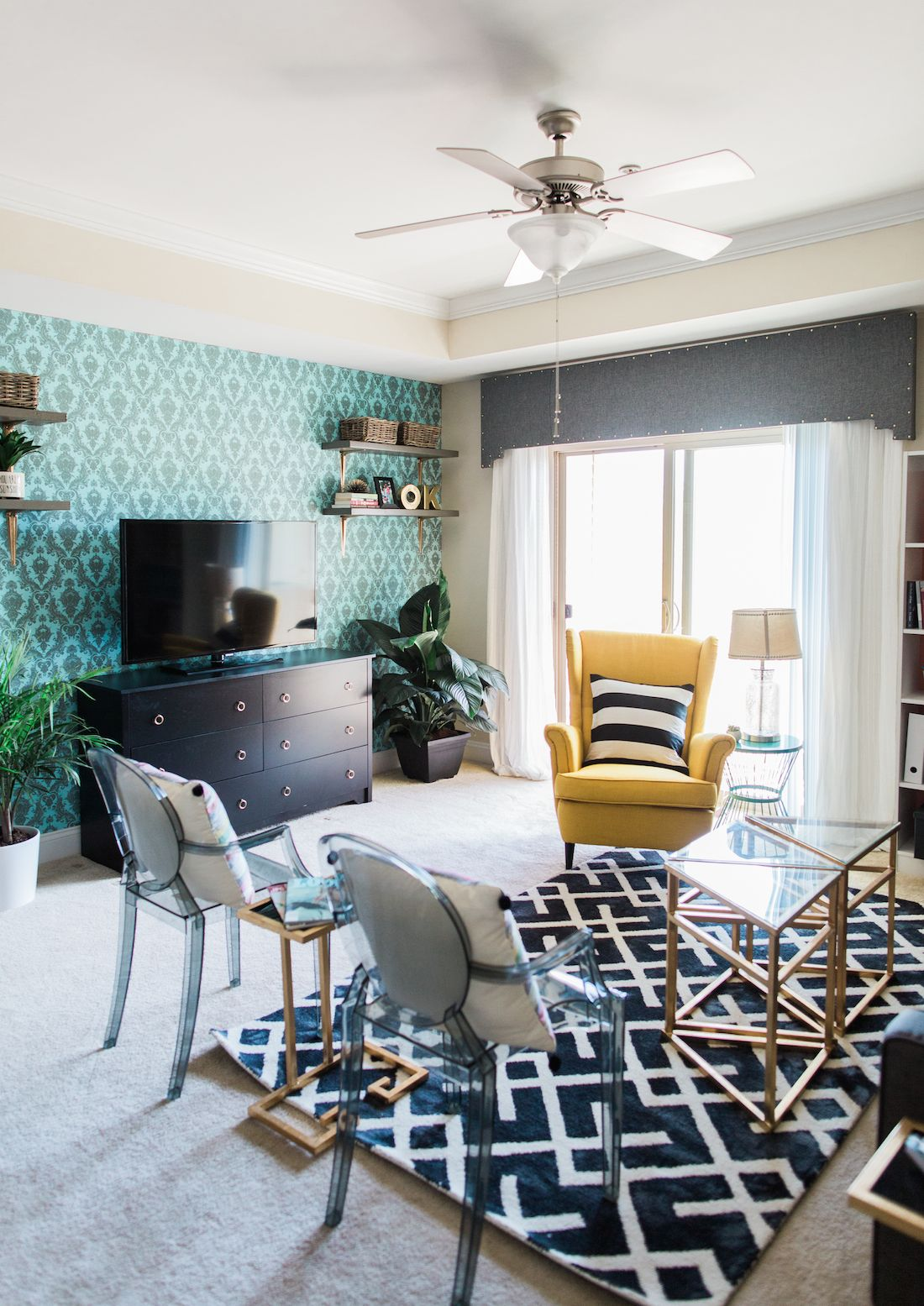 Put some wow in your rental with bold temporary wallpaper