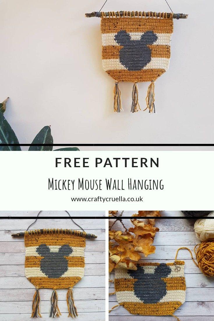 Mickey Mouse Crochet Wall Hanging | Crochet, punto y macrame | Pinterest