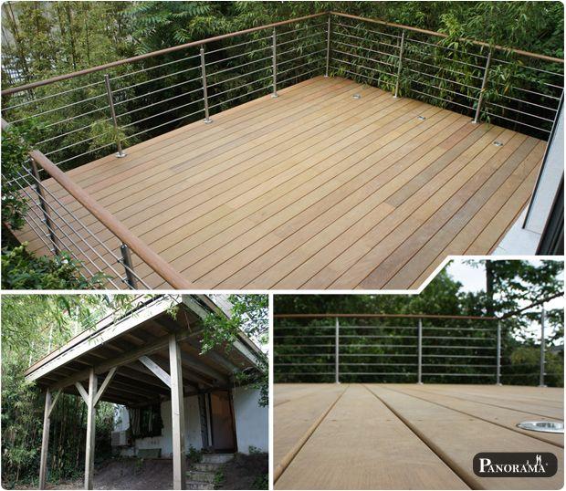 terrasse bois exotique sur pilotis sur poteaux autoportée bagnolet