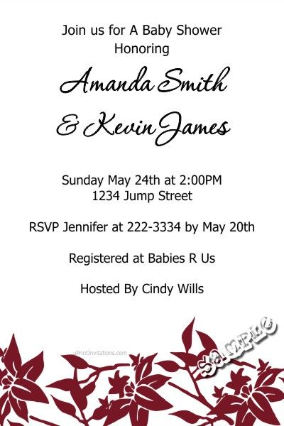 Flower Floral Baby Shower Invitations ANY COLOR SCHEME - Get these - create invitations online free no download