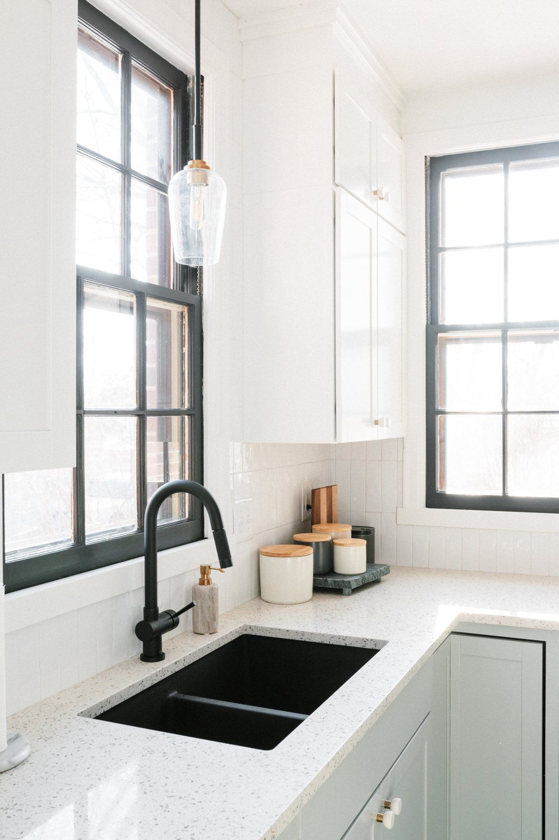 Black Faucet Paired With Undermount Sink The Day Shift Black Kitchen Faucets Black Kitchen Sink Black Farmhouse Sink