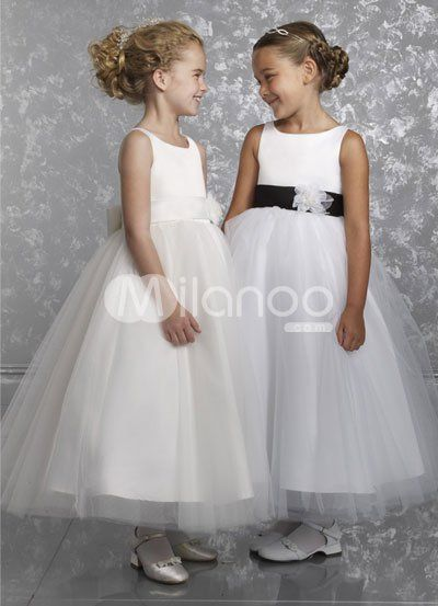 e3450ee3939 Romantic Sleeveless Sash Satin Flower Girl Dress
