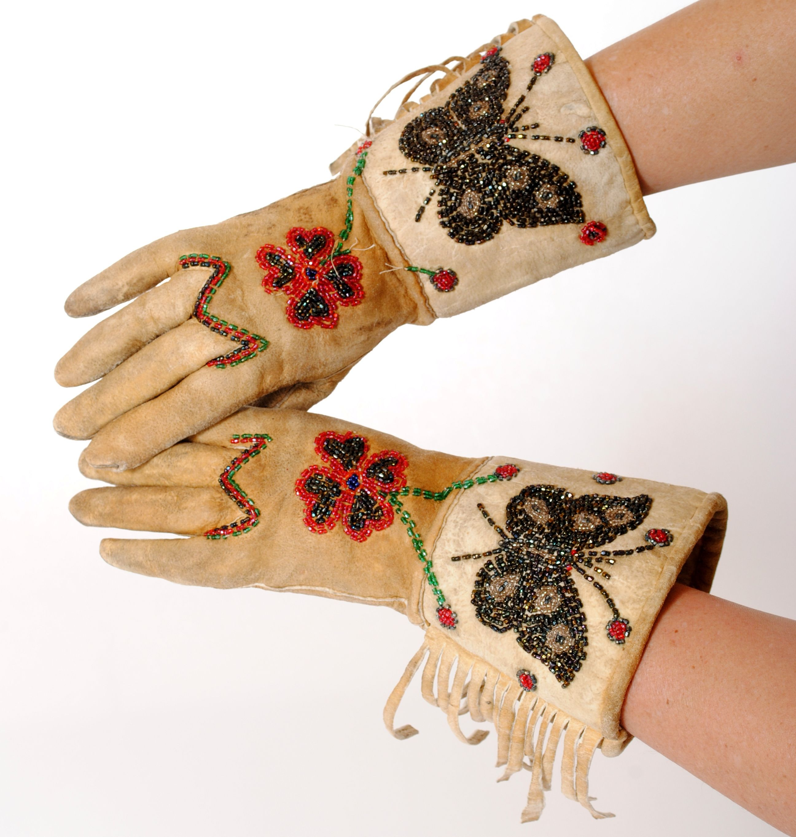 Vintage Leather Gauntlets with Native American Beading. Find these at luckystargallery.com $250
