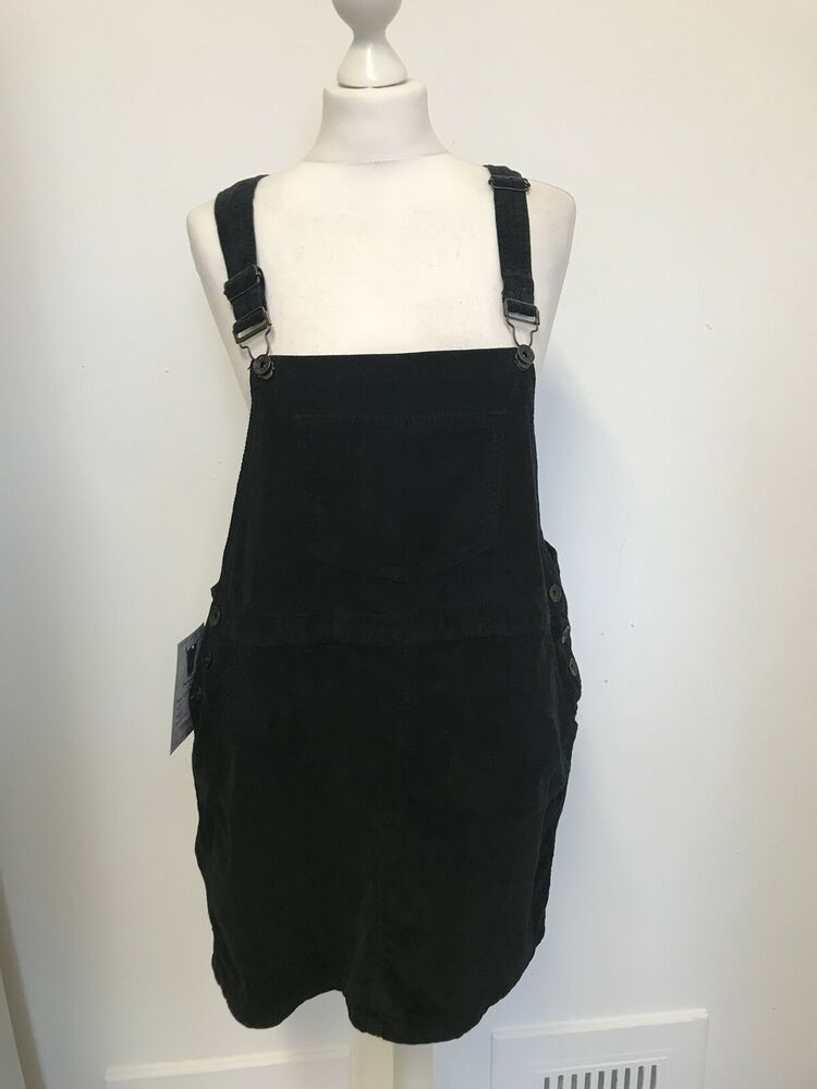New Womens Superdry Pencil Dungaree Dress Black