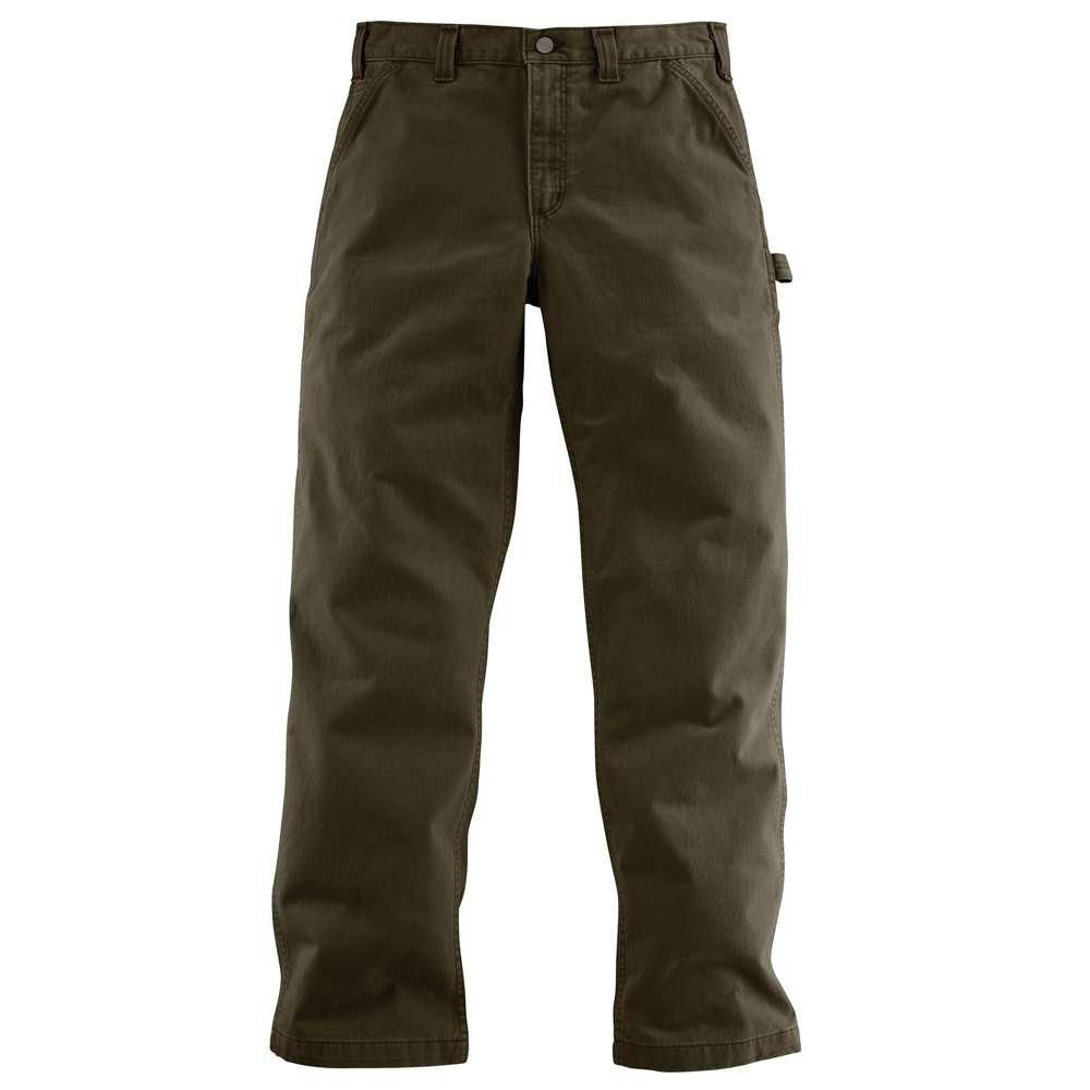 Photo of Carhartt Men's 32×34 Army Green Cotton Straight Leg Non-Denim Bottoms-B324-ARG – The Home Depot