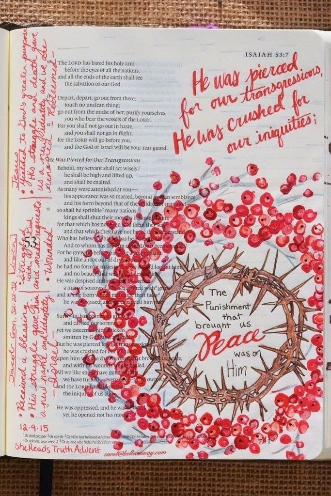 Isaiah 53:5, Hebrews 12:5-11, Genesis 32:22-32 December 9, 2015  carol@belleauway.com, colored pencil, acrylic paint, bible art journaling, bible journaling, illustrated faith, she reads truth advent