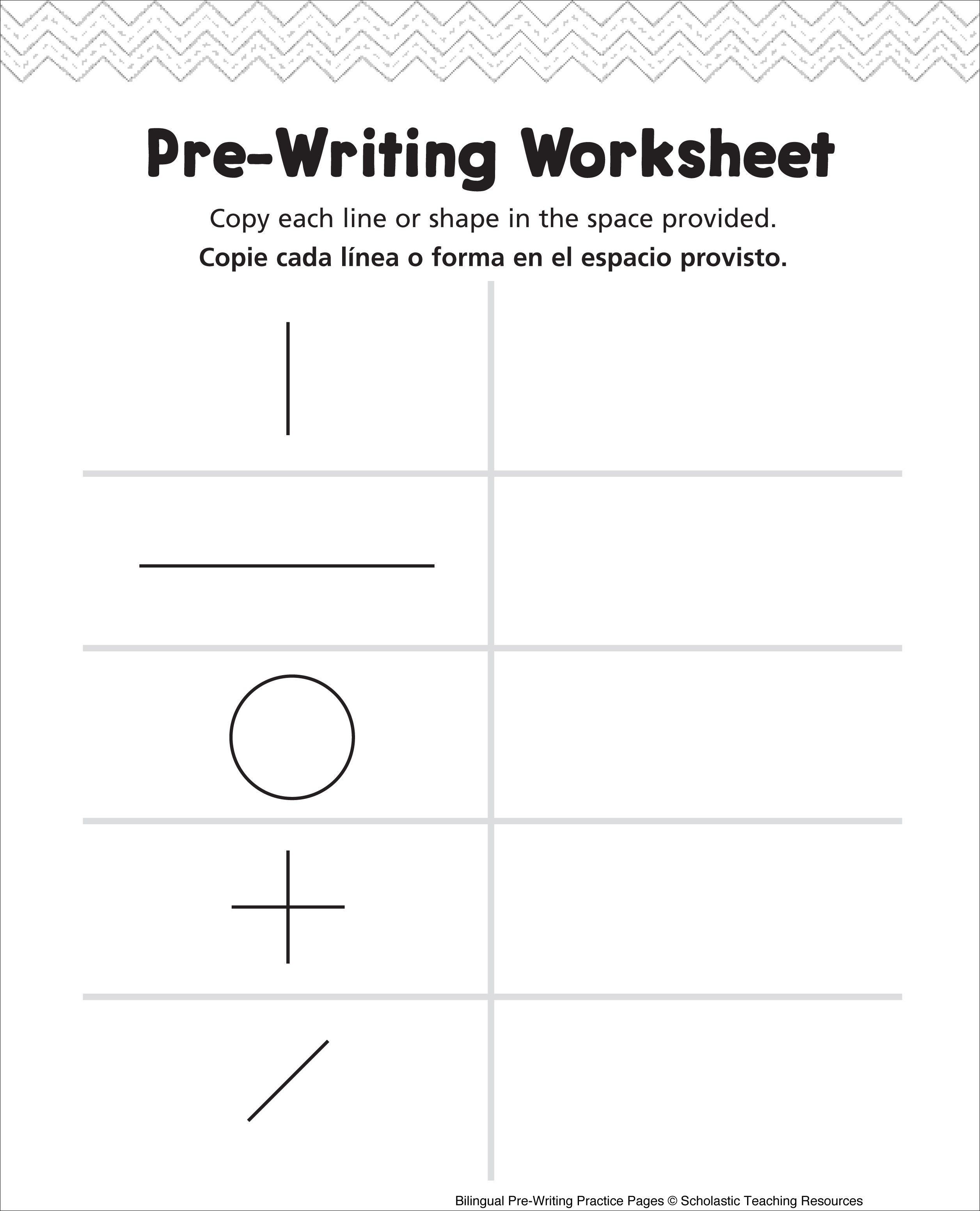 Pre Writing Worksheet Bilingual Practice Page