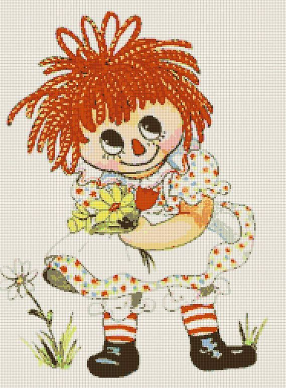 Vintage 70s Raggedy Ann And Flowers Iron On Transfer