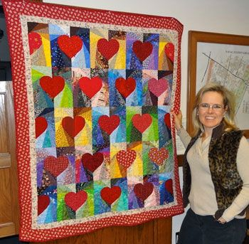 Reader Terri Lynch from Great Lakes, Illinois sent us this photo of her Hearts Afire quilt. Hearts Afire appeared in the Jan/Feb '08 issue of Quiltmaker, No. 119. Thanks for sharing, Terri!