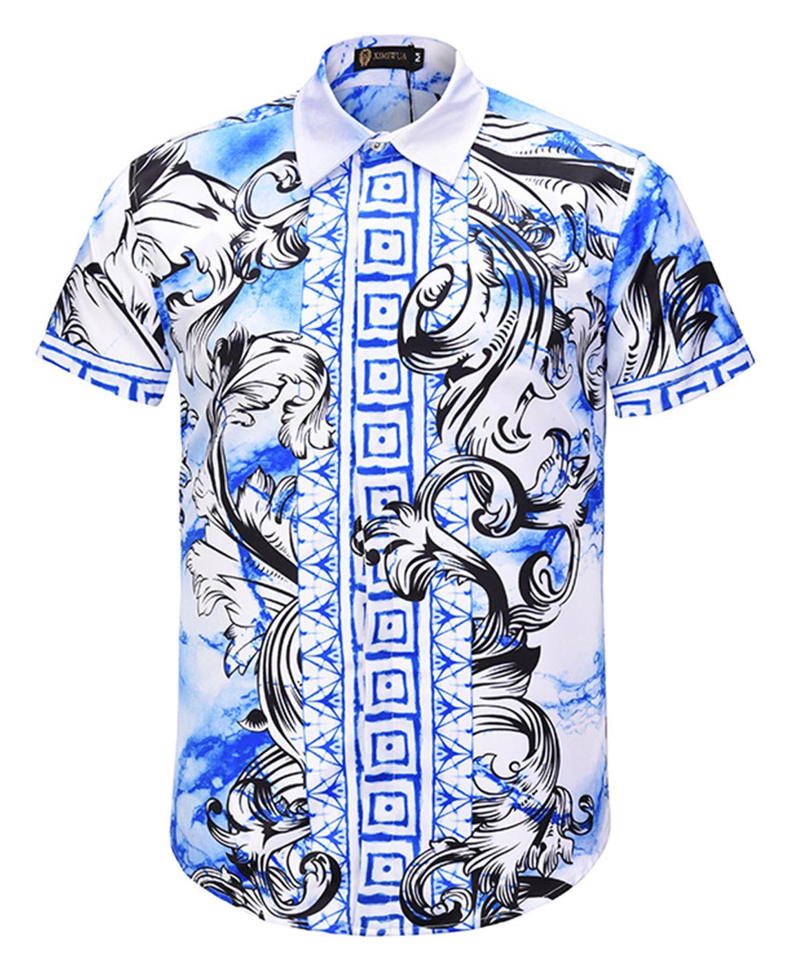 Pizoff Men S Short Sleeve Luxury Print Dress Shirt Al003 57 Printed Dress Shirts Men Short Sleeve Men Shirt Style [ 1410 x 1145 Pixel ]