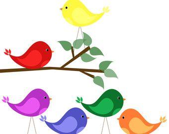 Primary Color Garden Clip Art Clip Art Bird Clipart Bird Clip Art Tree Tree Branch Animal Primary Digital Clip Art Clip Art Digital Clip Art Set