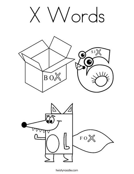 X Words Coloring Page from TwistyNoodle