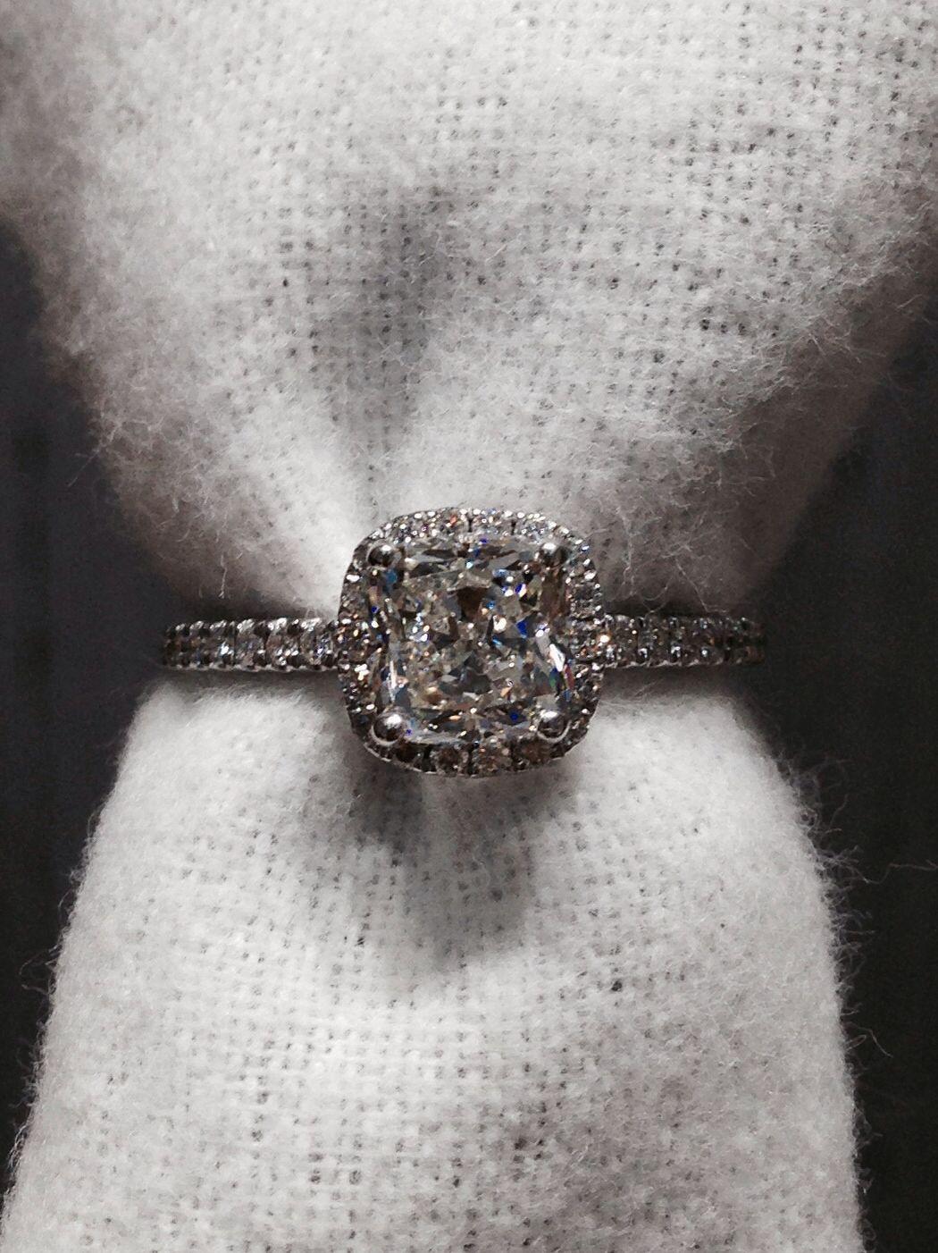 1.51 cushion cut diamond ring with halo