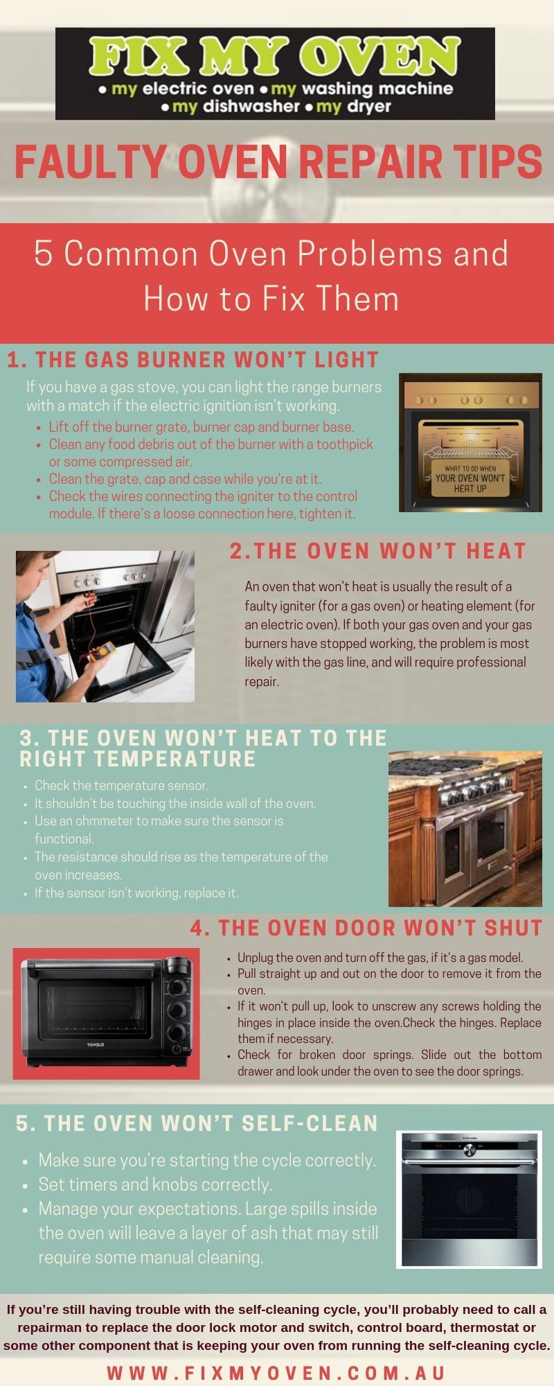Know how to fix a faulty oven with few simple step. from a guide given in  info graphic By Fix My Oven. A leading bra…   Oven repair, Repair, Electric  oven