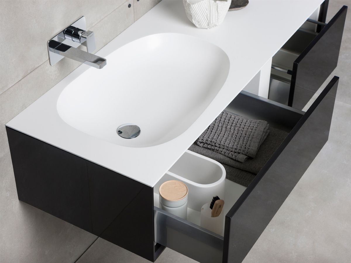 Essence 1 750mm wide shaving cabinet cibo design - Get The Black And White Bathroom Look Monochrome Accents Make A Contemporary Statement Use Bold Shapes And Silhouettes Like The Issy Glide Vanity To